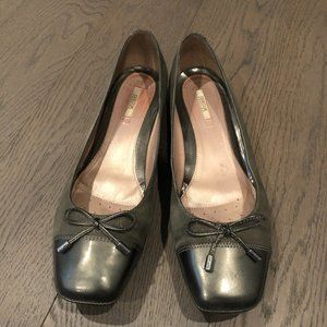 GEOX Respira Leather Ballet Flats Gray Size 39 1/2